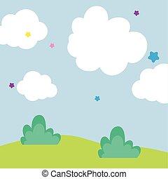 paysage, ciel, pré, dessin animé, nuages, étoiles, fond
