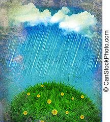 paysage., ciel, soleil, nuages, pleuvoir, vendange, nature