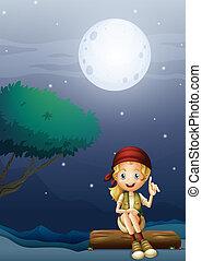 paysage, clair lune, girl, bois, séance