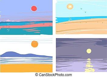 paysage, collection, résumé, illustration, mer, dessiné, vecteur, main