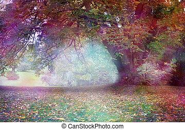 paysage, coloré, arbre, faerie, fantasme