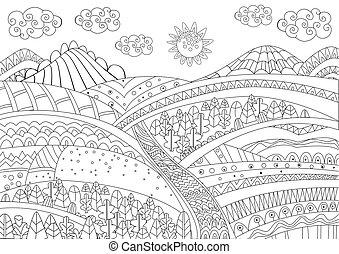 paysage, coloration, ton, fantaisie, page