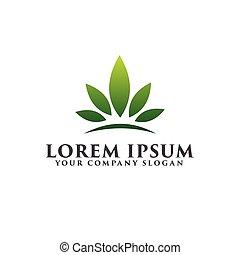 paysage., concept, feuille, jardin, couronne, conception, gabarit, floral, logo