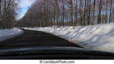 paysage, conduite, voiture, neigeux