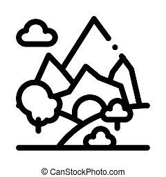 paysage, contour, vecteur, illustration, montagne, icône