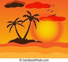 paysage, coucher soleil, beau