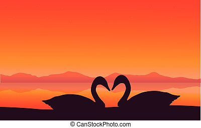 paysage, coucher soleil, cygne, silhouette, deux