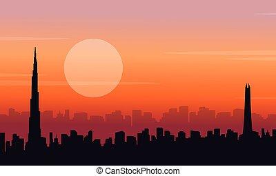 paysage, coucher soleil, dubai, silhouette