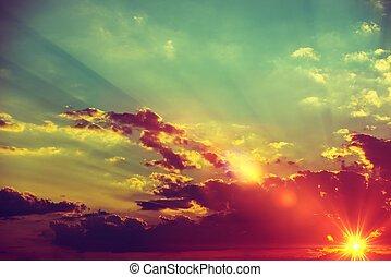 paysage, coucher soleil, fond