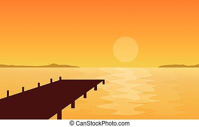 paysage, coucher soleil, silhouette, jetée