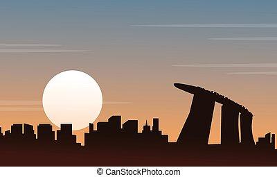 paysage, coucher soleil, silhouette, singapour