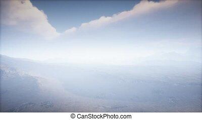 paysage, cratère, brouillard, volcan