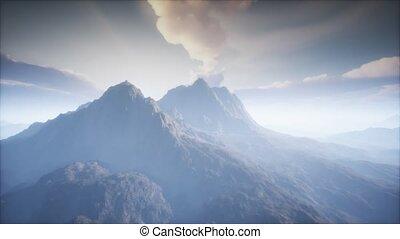 paysage, cratère, volcan, brouillard
