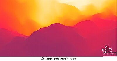 paysage., désert, montagneux, collines, silhouette.,...