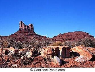 paysage, désert, valley., monument