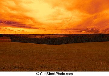 paysage, dans, les, coucher soleil