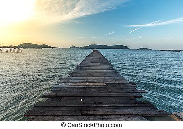 paysage, de, boisé, pont, jetée