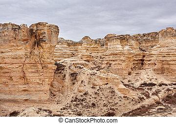 paysage, de, château, rocher, badlands, dans, kansas