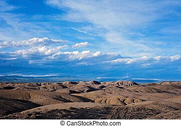 paysage, de, les, adobe, badlands, dans, colorado