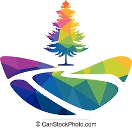 paysage, design., vecteur, logo, nature