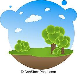 paysage, dessin animé, arbres