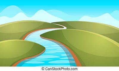 paysage, dessin animé, illustration., rivière, soleil, hill.