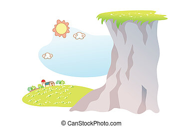 paysage, dessin animé