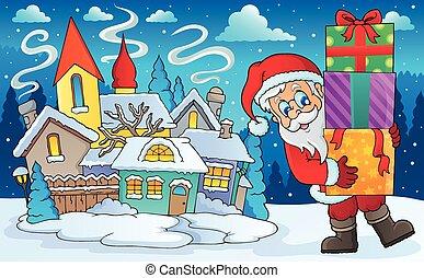 paysage, dons, claus, hiver, santa
