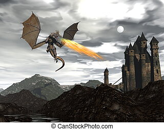 paysage, dragon, -, render, 3d