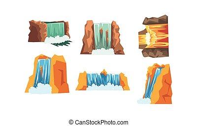 paysage, ensemble, illustration, style, vecteur, chutes d'eau, cascader, éléments, ruisseau, dessin animé, eau, montagne
