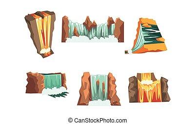 paysage, ensemble, illustration, style, vecteur, chutes d'eau, dessin animé, montagne, éléments