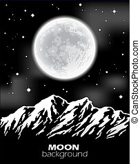 paysage., entiers, illustration., sur, lune, vecteur, nuit, montagnes.