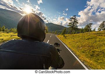 paysage., extérieur, détail, photographie, motocyclette, driver., alpin