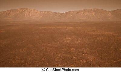 paysage, fantastique, martien, nuances, rouillé, orange