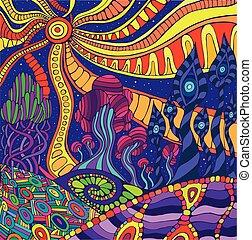 paysage., fantastique, surréaliste, griffonnage, coloré, graphique, psychédélique