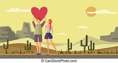 paysage., femme, romantique coupler, love., jeune, vecteur, date, homme, désert, illustration.