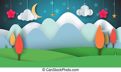 paysage., fleur, lune, star., herbe, arbre, papier, nuage, dessin animé