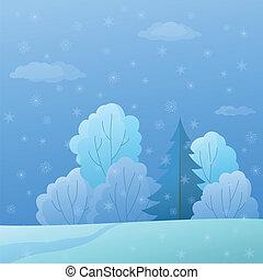 paysage, forêt, bord, hiver, jour
