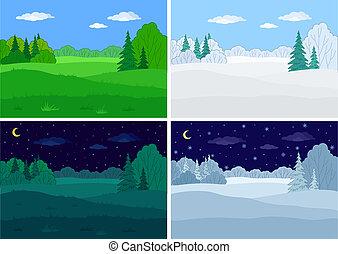 paysage, forêt, ensemble