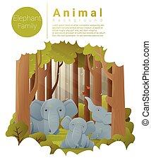 paysage, forêt, fond, éléphants