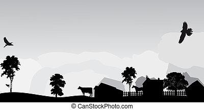 paysage, gris, arbres, village