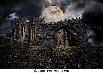 paysage, halloween, moyen-âge
