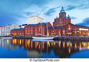 paysage, helsinki, soir, finlande