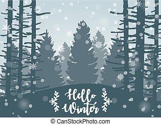 paysage, heureux, hiver, fond, forêt