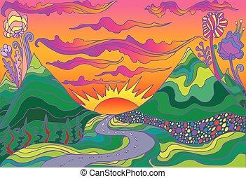 paysage, hippie, route, style, sunset., retro, soleil, montagnes, psychédélique, aller