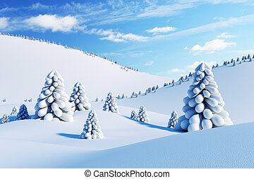 paysage hiver, à, arbres sapin