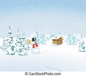 paysage hiver, à, bonhomme de neige