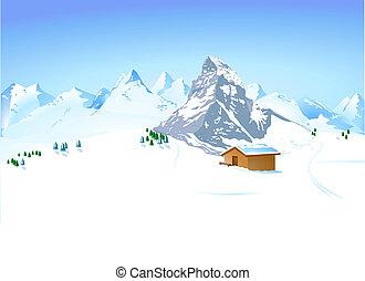 paysage hiver, à, montagne