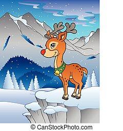paysage hiver, à, renne, 1
