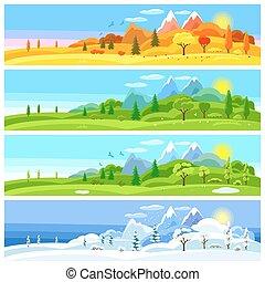 paysage., hiver, arbres, collines, printemps, montagnes, autumn., quatre saisons, bannières, été